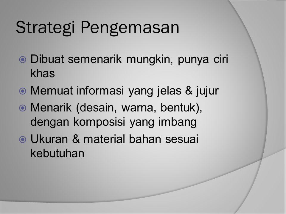 Strategi Pengemasan Dibuat semenarik mungkin, punya ciri khas