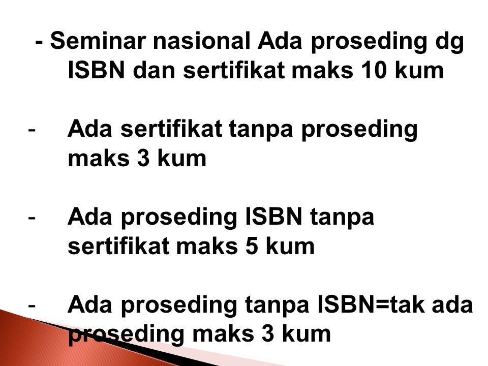 - Seminar nasional Ada proseding dg ISBN dan sertifikat maks 10 kum