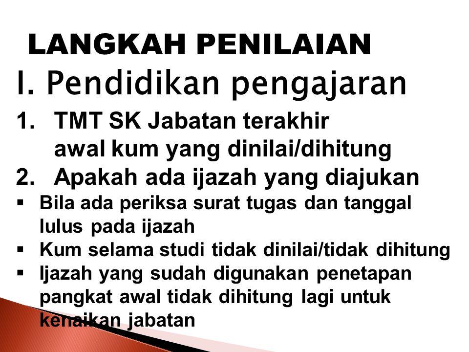 LANGKAH PENILAIAN I. Pendidikan pengajaran TMT SK Jabatan terakhir