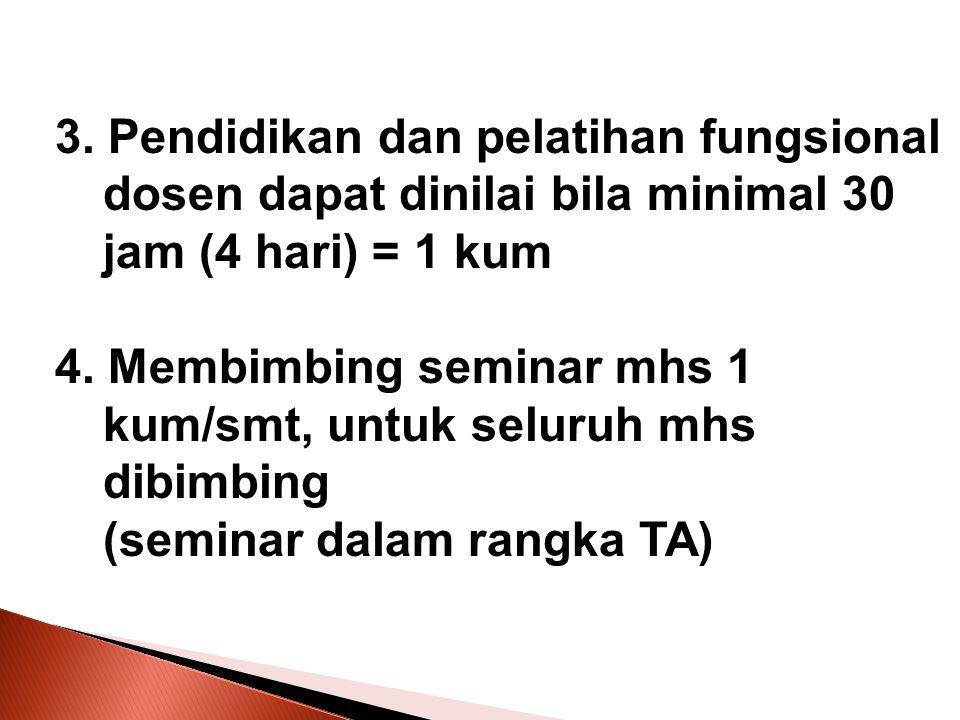 3. Pendidikan dan pelatihan fungsional dosen dapat dinilai bila minimal 30 jam (4 hari) = 1 kum