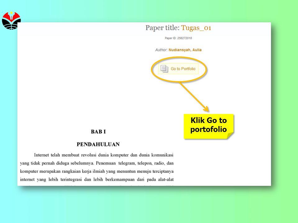 Klik Go to portofolio