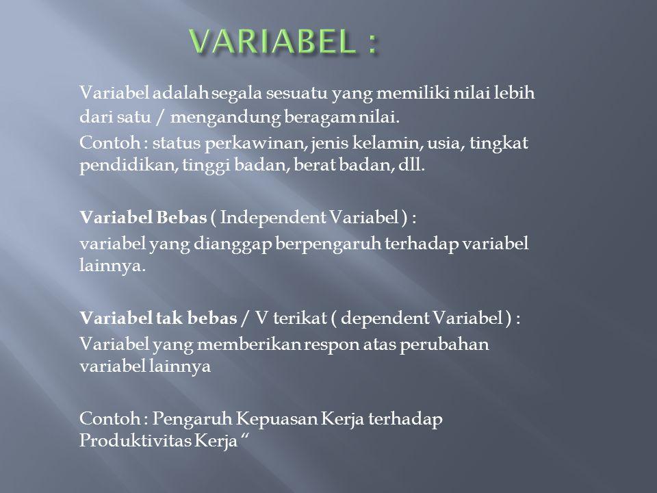 VARIABEL : Variabel adalah segala sesuatu yang memiliki nilai lebih dari satu / mengandung beragam nilai.