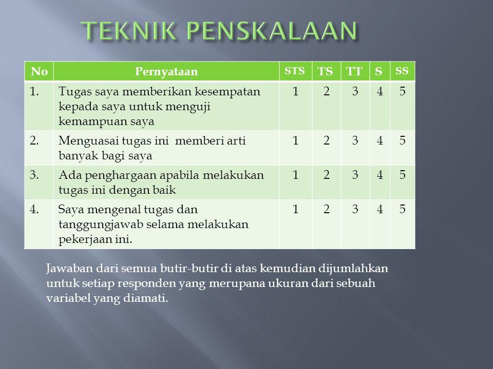 TEKNIK PENSKALAAN No Pernyataan TS TT S 1.