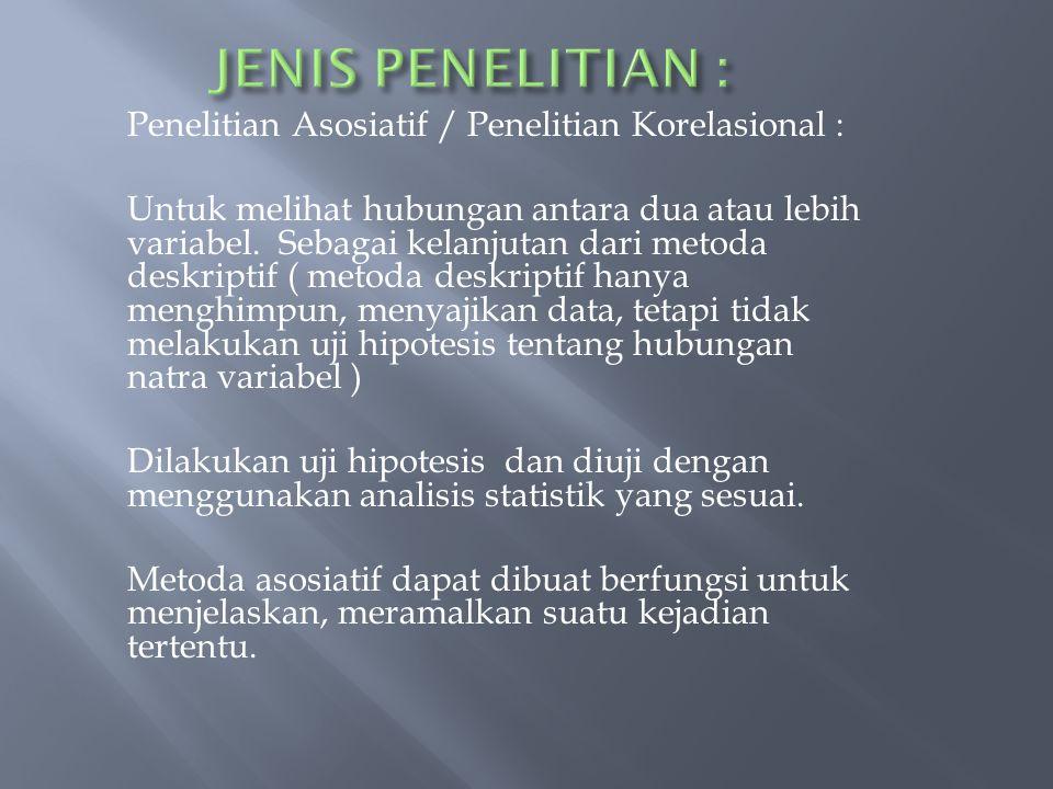 JENIS PENELITIAN :