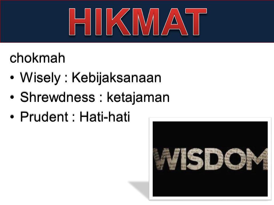 HIKMAT chokmah Wisely : Kebijaksanaan Shrewdness : ketajaman