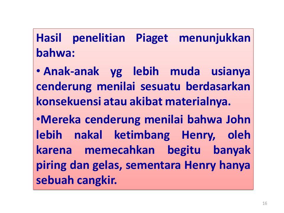 Hasil penelitian Piaget menunjukkan bahwa: