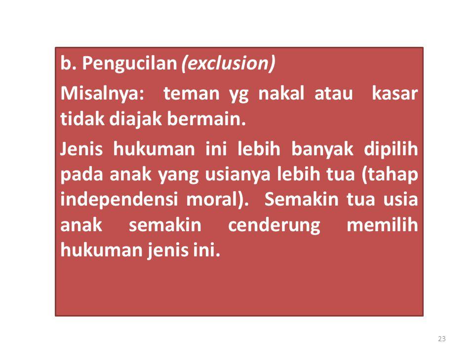 b. Pengucilan (exclusion)