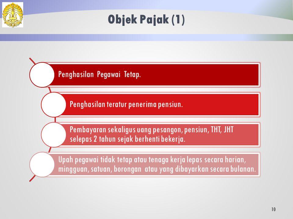Objek Pajak (1) Penghasilan Pegawai Tetap.