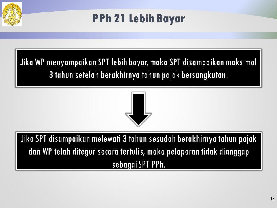 PPh 21 Lebih Bayar Jika WP menyampaikan SPT lebih bayar, maka SPT disampaikan maksimal 3 tahun setelah berakhirnya tahun pajak bersangkutan.