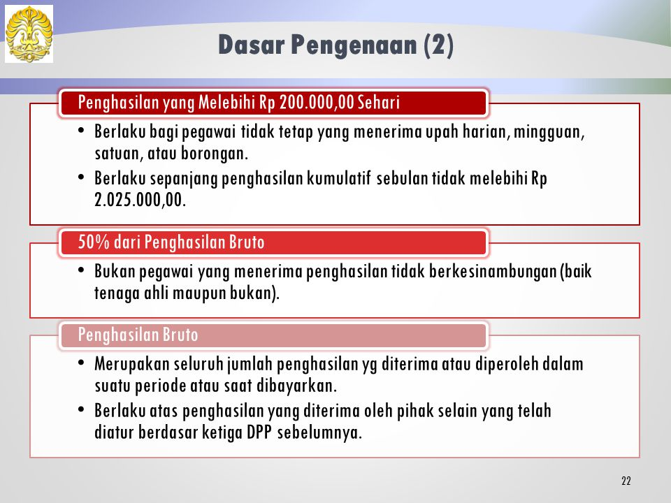 Dasar Pengenaan (2) Berlaku bagi pegawai tidak tetap yang menerima upah harian, mingguan, satuan, atau borongan.