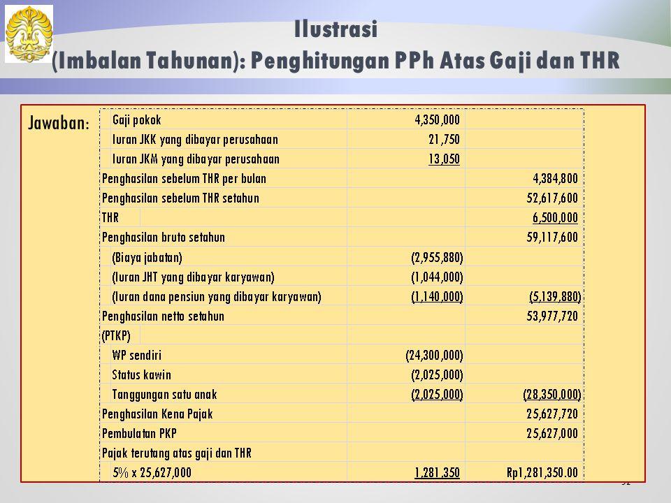 Ilustrasi (Imbalan Tahunan): Penghitungan PPh Atas Gaji dan THR