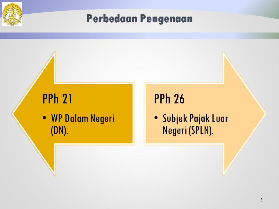 PPh 21 PPh 26 Perbedaan Pengenaan WP Dalam Negeri (DN).