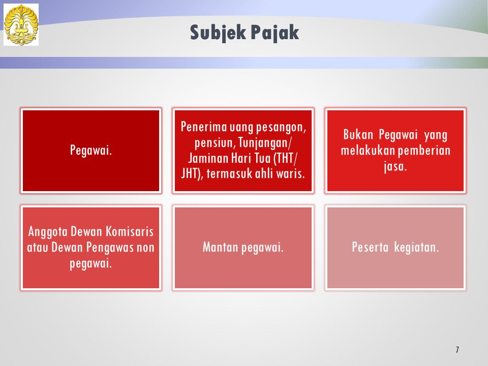 Subjek Pajak Pegawai. Penerima uang pesangon, pensiun, Tunjangan/ Jaminan Hari Tua (THT/ JHT), termasuk ahli waris.