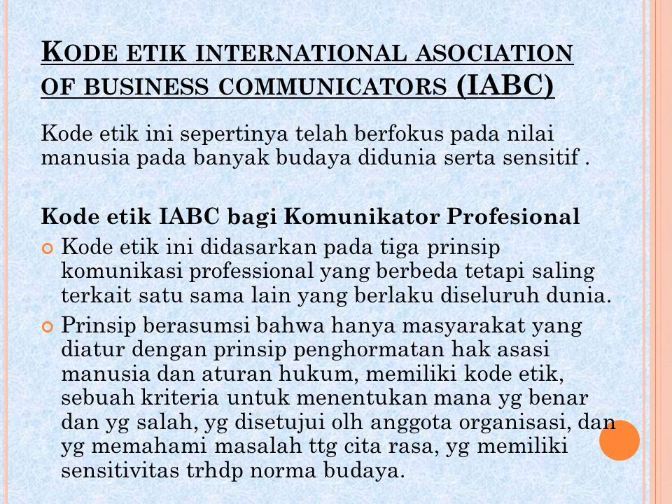 Kode etik international asociation of business communicators (IABC)
