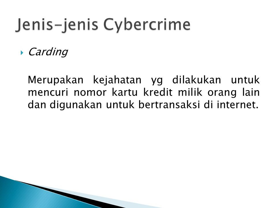 Jenis-jenis Cybercrime