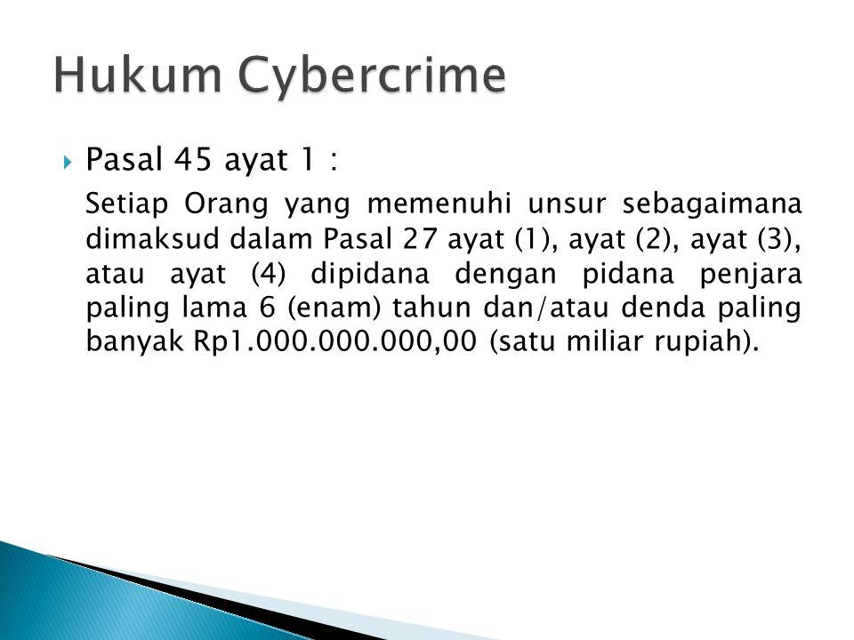 Hukum Cybercrime Pasal 45 ayat 1 :