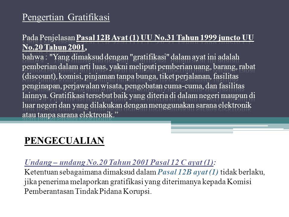 Pengertian Gratifikasi Pada Penjelasan Pasal 12B Ayat (1) UU No
