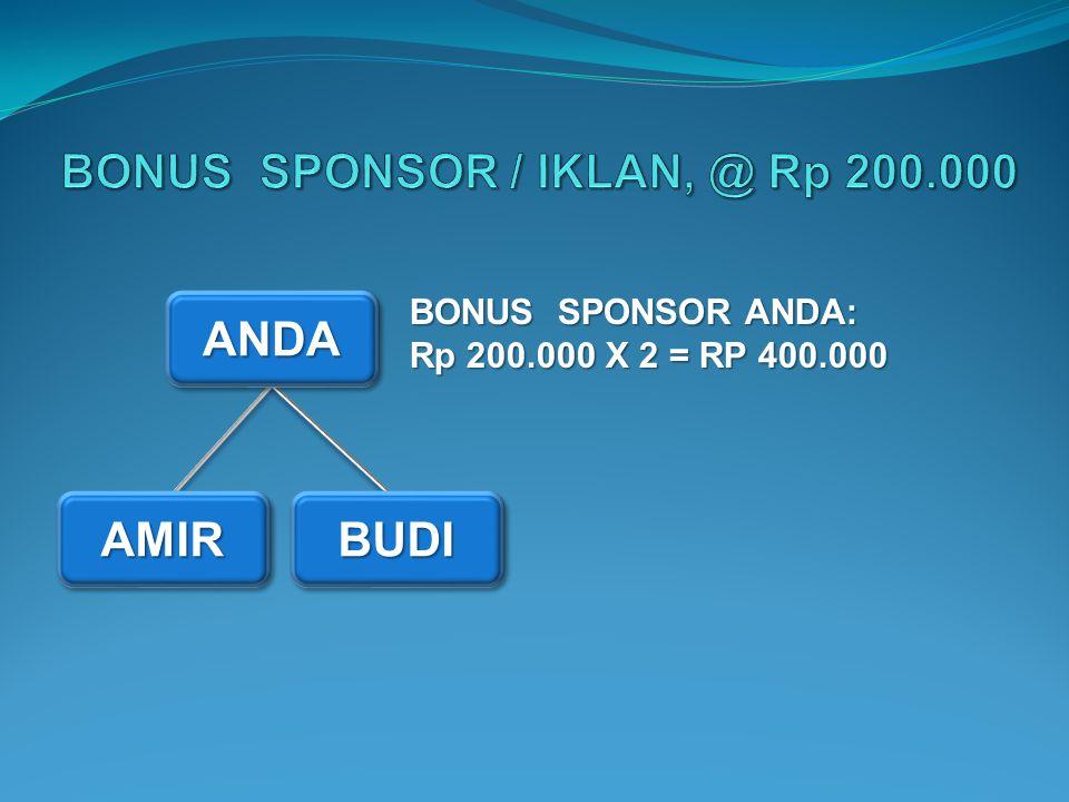 BONUS SPONSOR / IKLAN, @ Rp 200.000