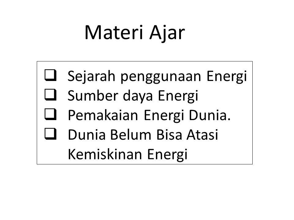 Materi Ajar Sejarah penggunaan Energi Sumber daya Energi