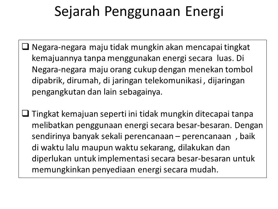 Sejarah Penggunaan Energi