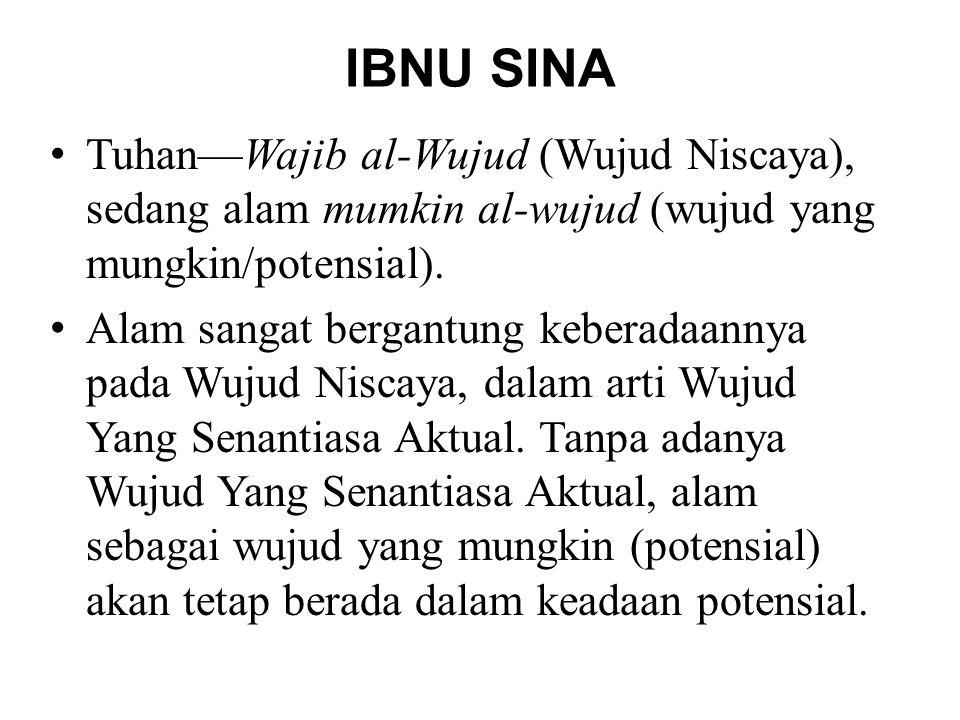 IBNU SINA Tuhan—Wajib al-Wujud (Wujud Niscaya), sedang alam mumkin al-wujud (wujud yang mungkin/potensial).