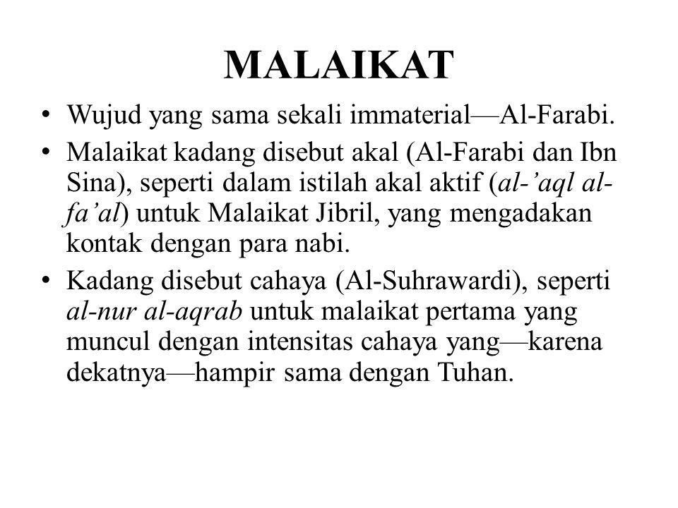 MALAIKAT Wujud yang sama sekali immaterial—Al-Farabi.