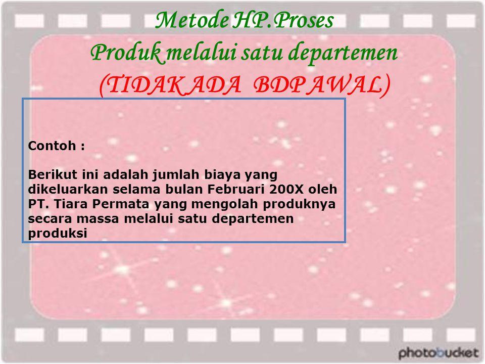 Metode HP.Proses Produk melalui satu departemen (TIDAK ADA BDP AWAL)