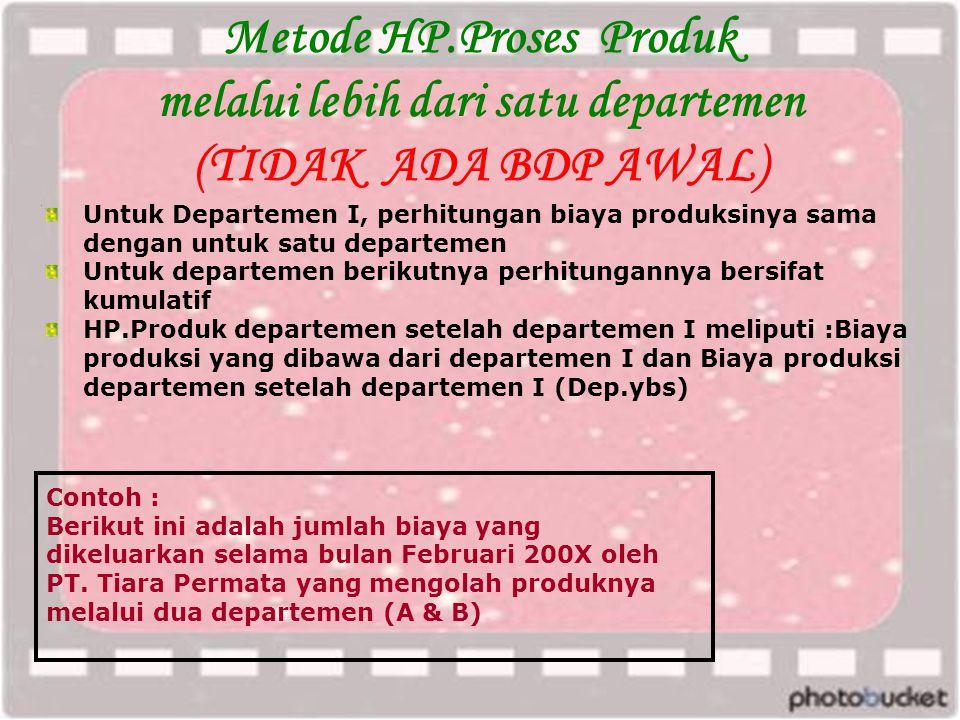 Metode HP.Proses Produk melalui lebih dari satu departemen (TIDAK ADA BDP AWAL)