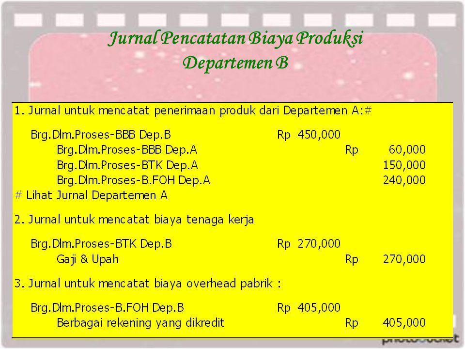 Jurnal Pencatatan Biaya Produksi Departemen B