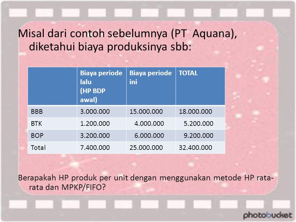 Misal dari contoh sebelumnya (PT Aquana), diketahui biaya produksinya sbb: