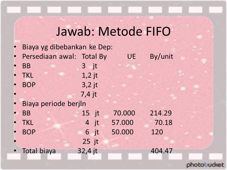 Jawab: Metode FIFO Biaya yg dibebankan ke Dep: