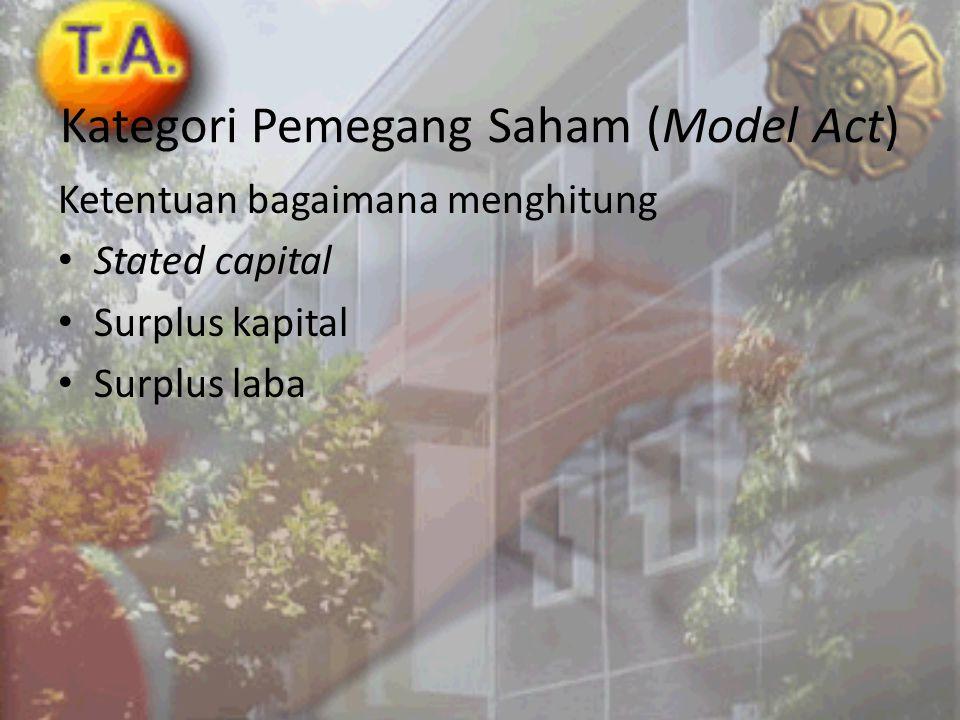 Kategori Pemegang Saham (Model Act)