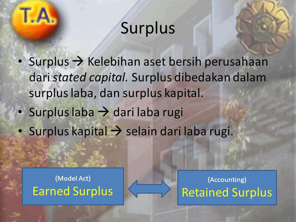 Surplus Surplus  Kelebihan aset bersih perusahaan dari stated capital. Surplus dibedakan dalam surplus laba, dan surplus kapital.