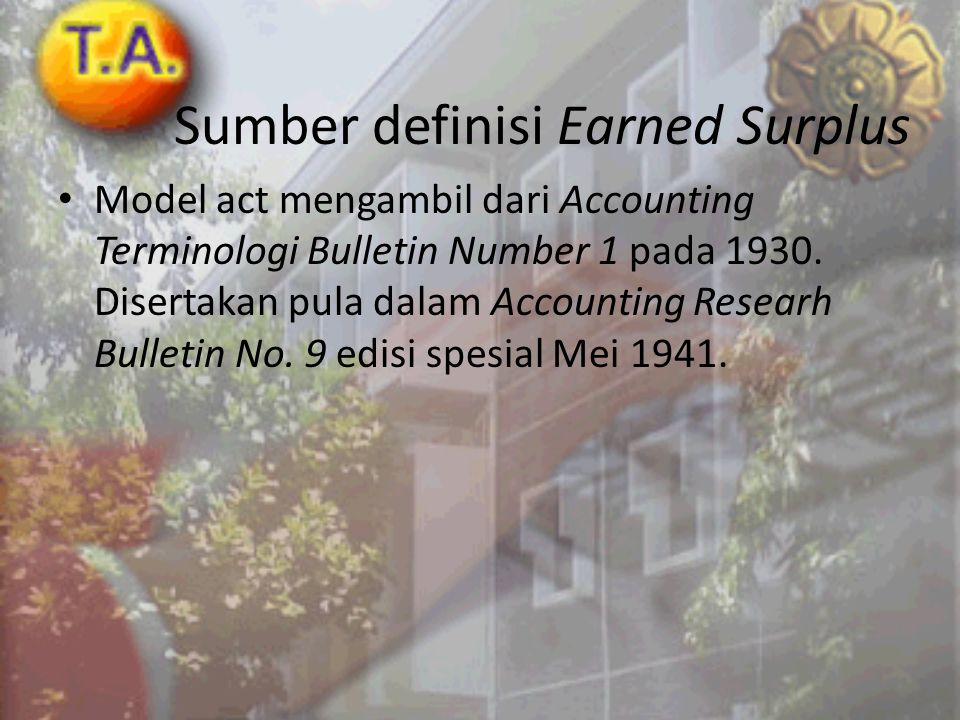 Sumber definisi Earned Surplus