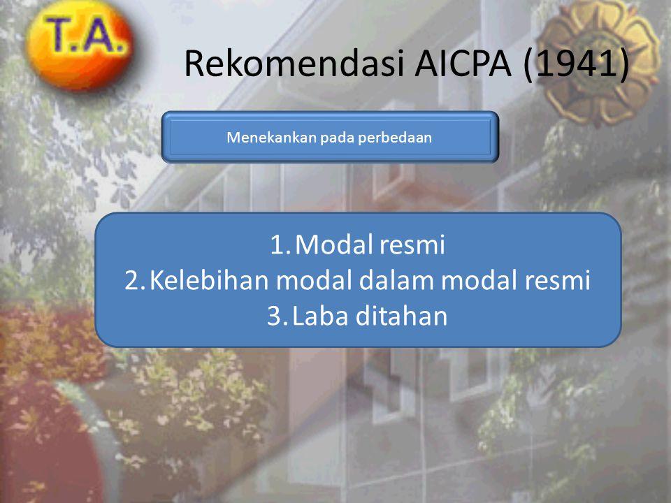 Rekomendasi AICPA (1941) Modal resmi Kelebihan modal dalam modal resmi