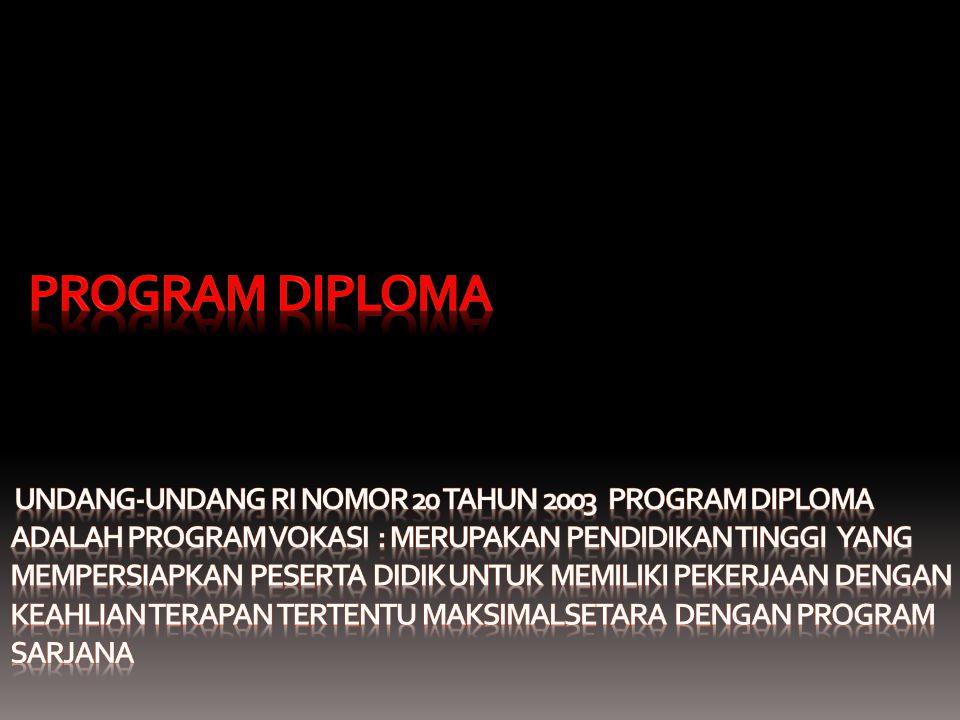 PROGRAM DIPLOMA Undang-Undang RI Nomor 20 Tahun 2003 PROGRAM DIPLOMA ADALAH PROGRAM VOKASI : merupakan pendidikan tinggi yang mempersiapkan peserta didik untuk memiliki pekerjaan dengan keahlian terapan tertentu maksimalsetara dengan program sarjana