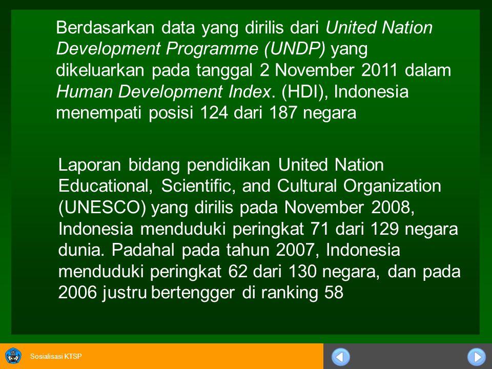 Berdasarkan data yang dirilis dari United Nation Development Programme (UNDP) yang dikeluarkan pada tanggal 2 November 2011 dalam Human Development Index. (HDI), Indonesia menempati posisi 124 dari 187 negara