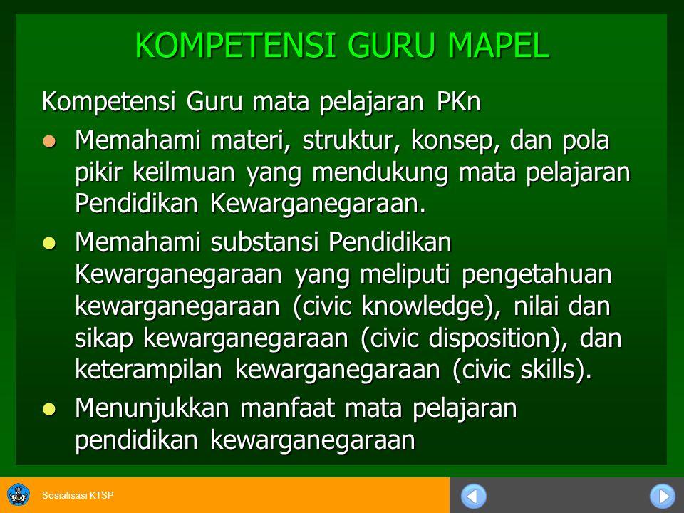 KOMPETENSI GURU MAPEL Kompetensi Guru mata pelajaran PKn