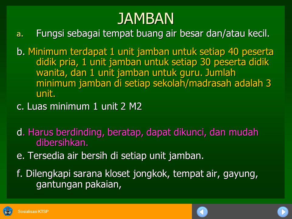JAMBAN Fungsi sebagai tempat buang air besar dan/atau kecil.