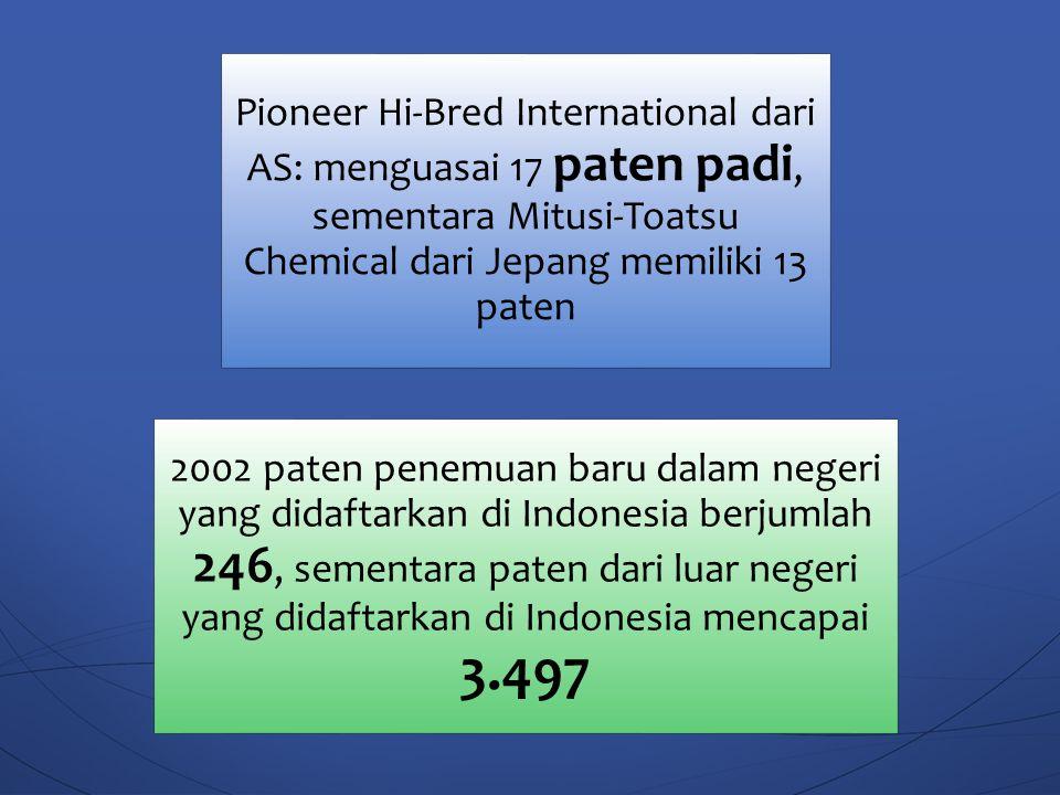 Pioneer Hi-Bred International dari AS: menguasai 17 paten padi, sementara Mitusi-Toatsu Chemical dari Jepang memiliki 13 paten