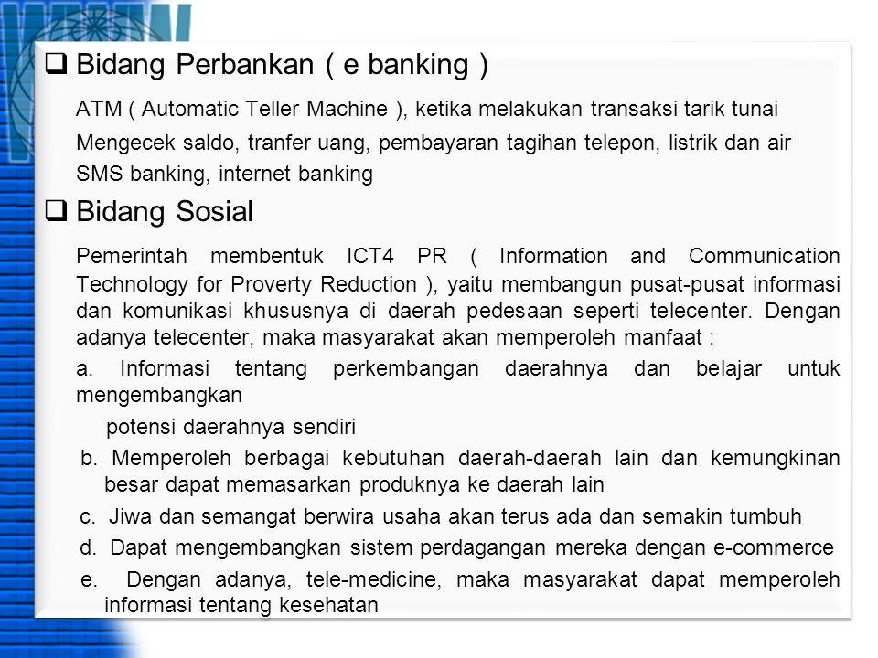 Bidang Perbankan ( e banking )