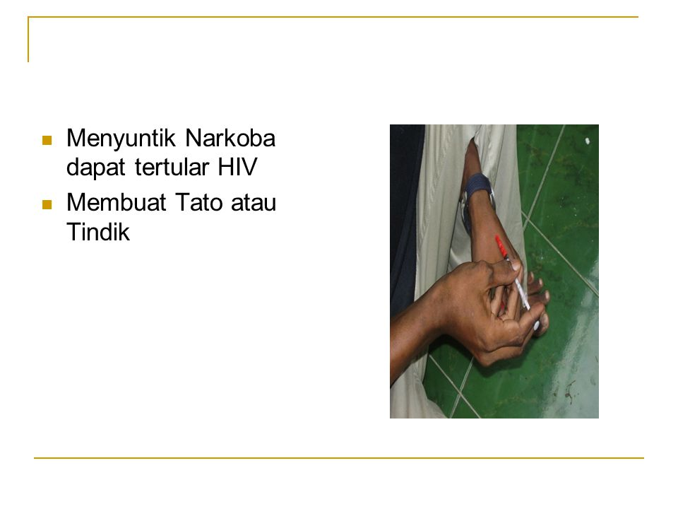 Menyuntik Narkoba dapat tertular HIV
