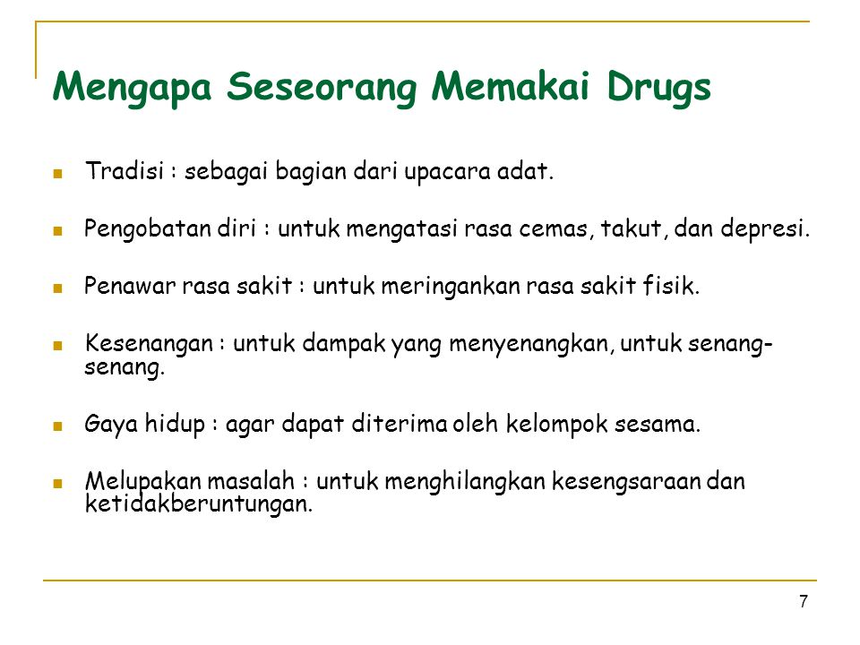 Mengapa Seseorang Memakai Drugs