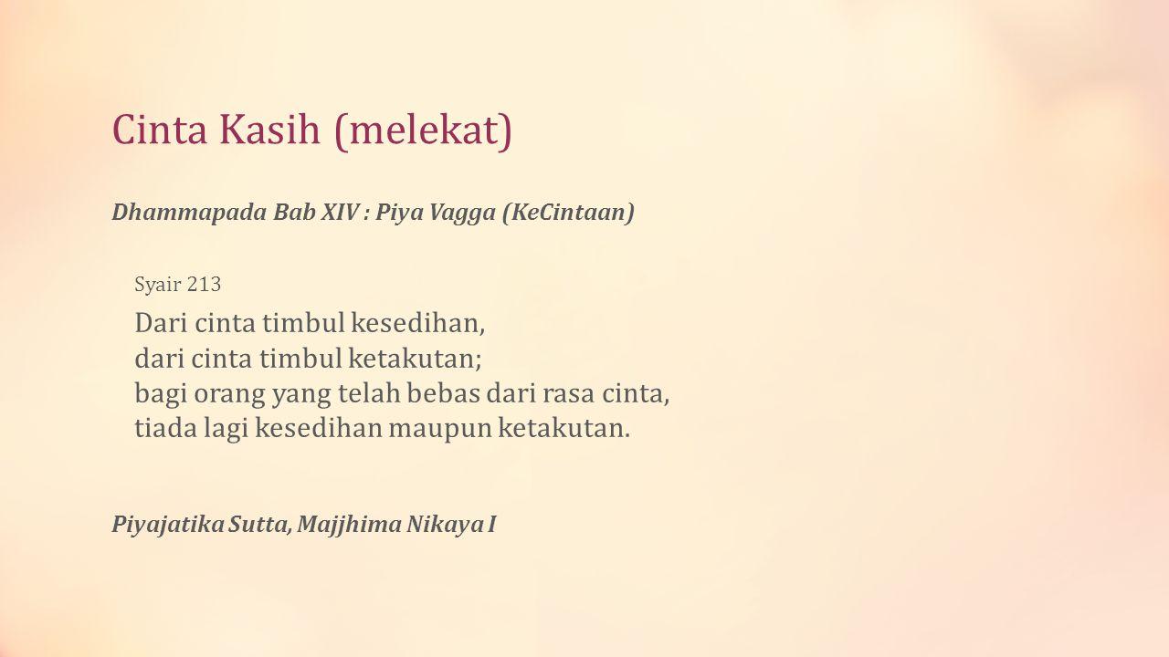 Cinta Kasih (melekat) Dhammapada Bab XIV : Piya Vagga (KeCintaan) Syair 213.