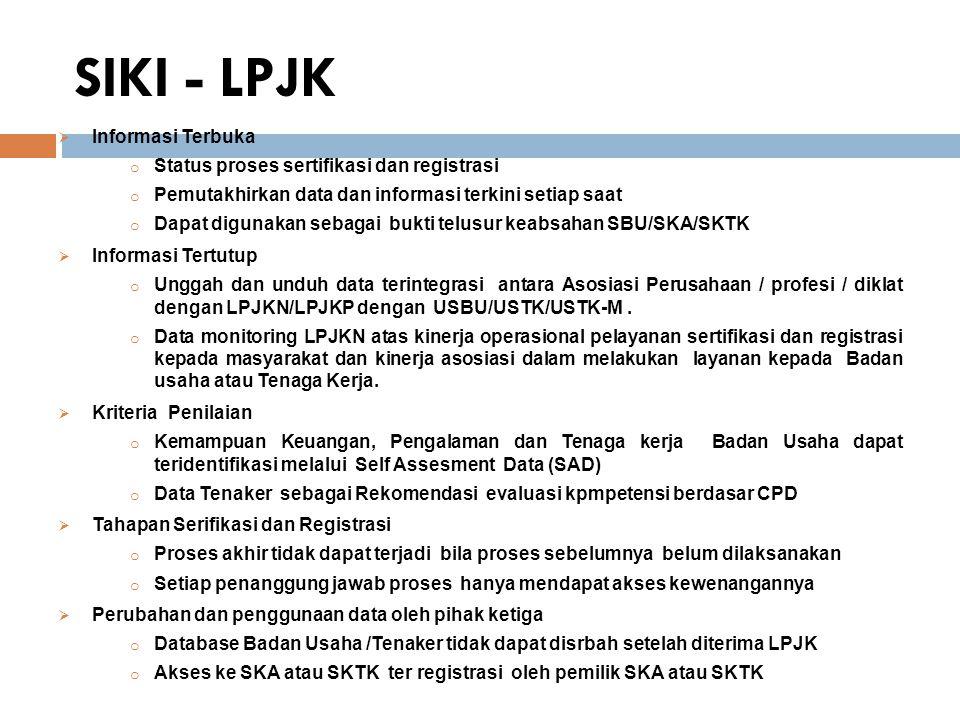 SIKI - LPJK Informasi Terbuka Status proses sertifikasi dan registrasi