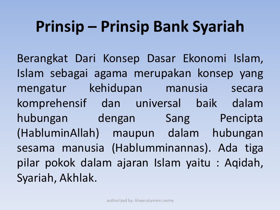Prinsip – Prinsip Bank Syariah
