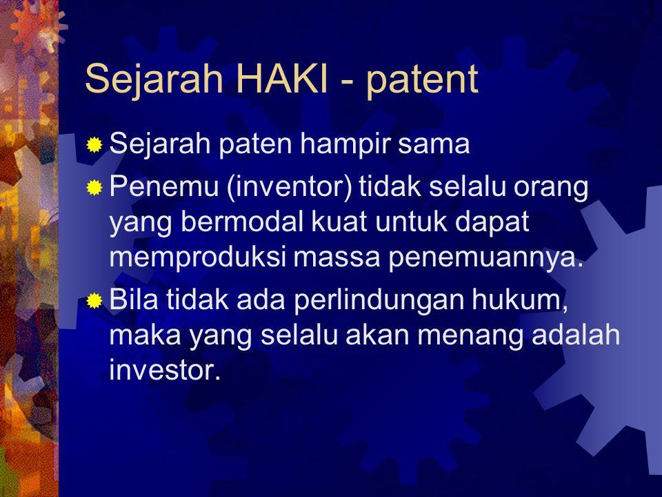 Sejarah HAKI - patent Sejarah paten hampir sama