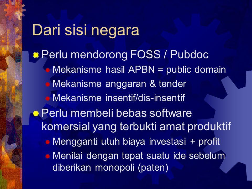 Dari sisi negara Perlu mendorong FOSS / Pubdoc