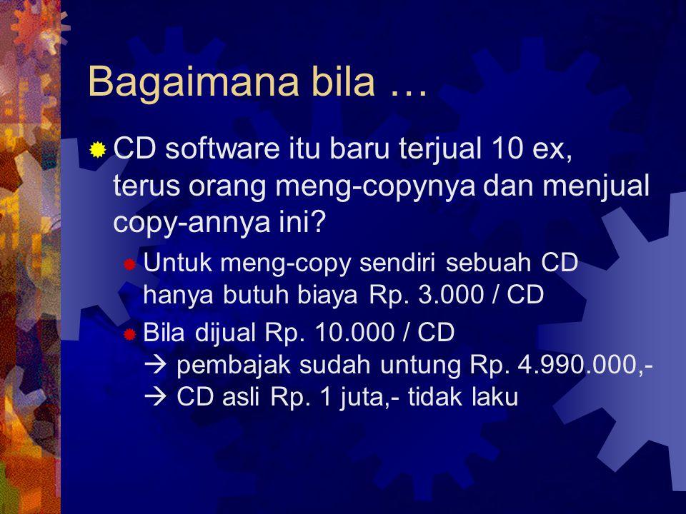 Bagaimana bila … CD software itu baru terjual 10 ex, terus orang meng-copynya dan menjual copy-annya ini