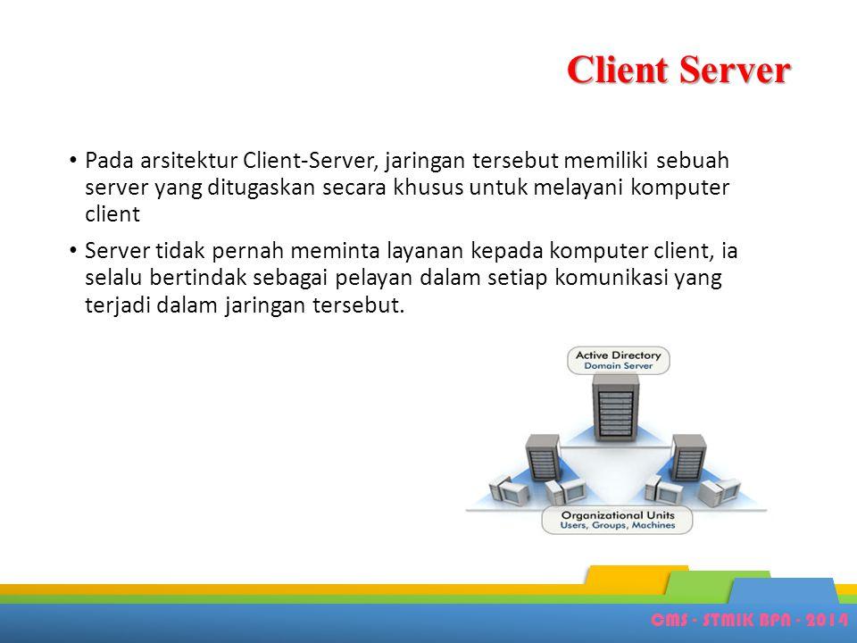 Client Server Pada arsitektur Client-Server, jaringan tersebut memiliki sebuah server yang ditugaskan secara khusus untuk melayani komputer client.